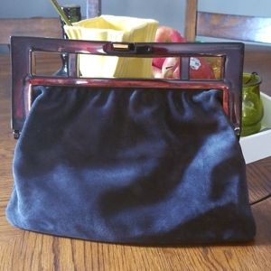 SALE!! Rare! 1970s Sirocco Italy Suede clutch